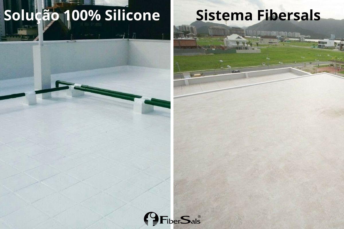 impermeabilização de laje ecológica solução 100% silicone e sistema fibersals
